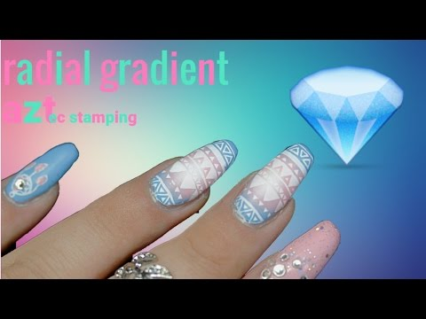 Easy radial gradient with aztec print | spring/summer nail art