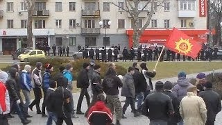 Противостояние в Херсоне 23.02.2014 Ленин, Оплот, Самооборона