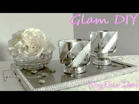 Dollar Tree DIY Glam Bling Modern Candleholders Glam Home Decor