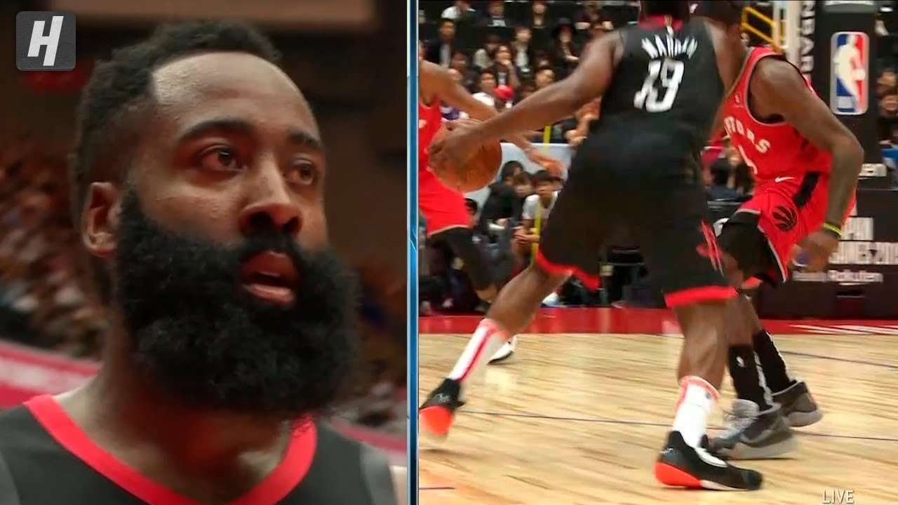 James Harden Clean Dribble Through Rhj S Legs Rockets Vs Raptors 2019 Nba Preseason