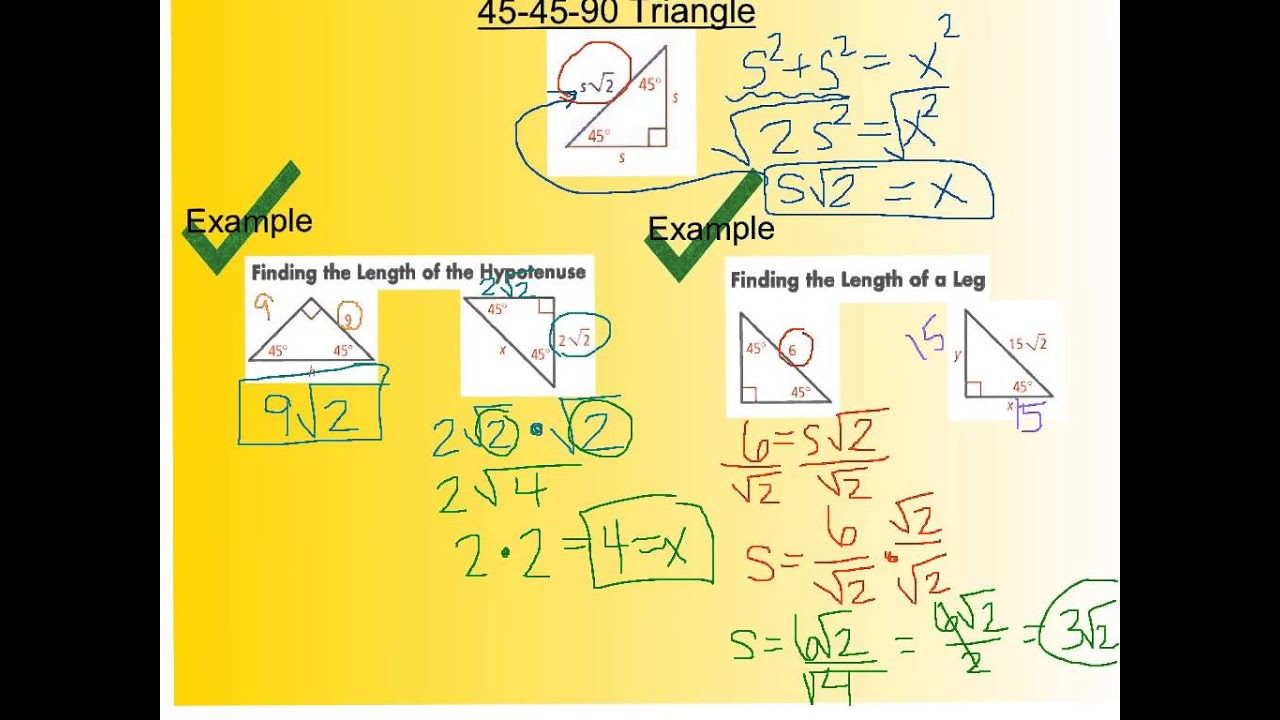 8 2 Special Right Triangles Youtube