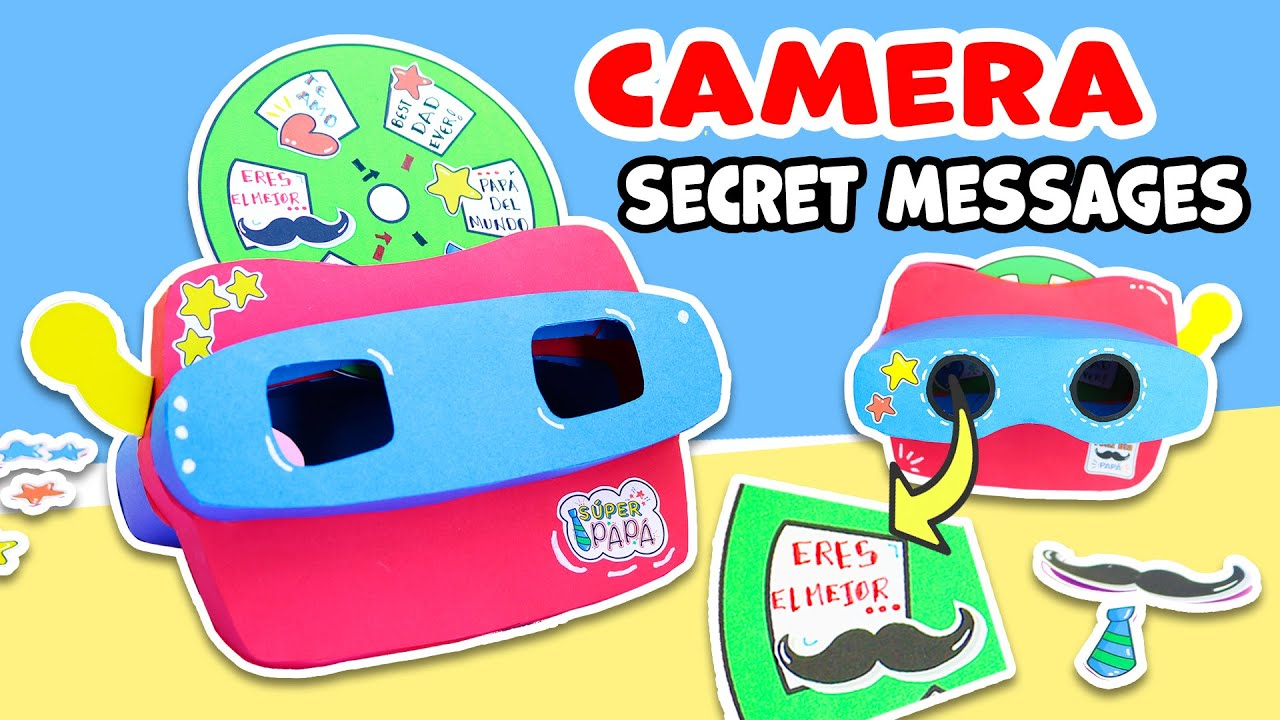 Make a CAMERA with SECRET MESSAGES of PAPER CARDSTOCK - FATHER'S DAY GIFTI  aPasos Crafts DIY