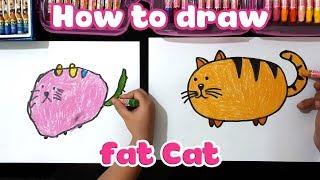 Dạy bé học vẽ con mèo béo ú ♥ How to draw a fat cat ♥