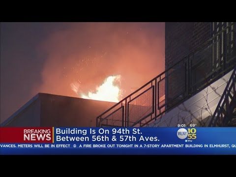 Flames Shoot From Apartment Fire In Elmhurst