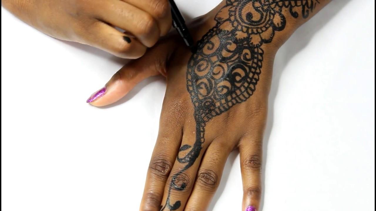 Diy Henna Tattoo Using Liquid Eyeliner Marker Youtube