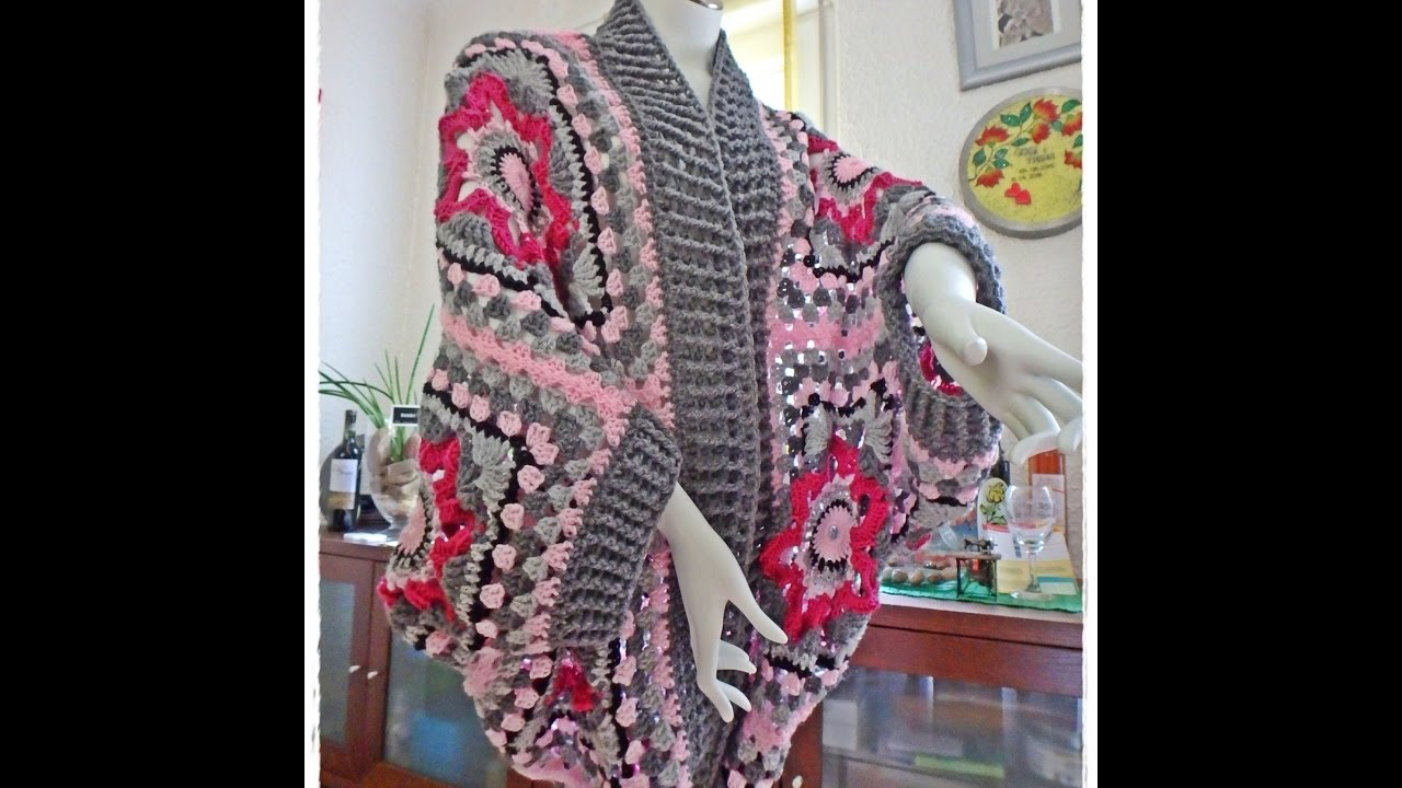 Granny Square Sweater Crochet Cardigan 1 Part Step