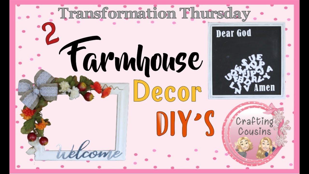 TWO DOLLAR TREE FARMHOUSE HOME DECOR PROJECT TUTORIALS | Frame Wreath DIY | Transformation Thursday