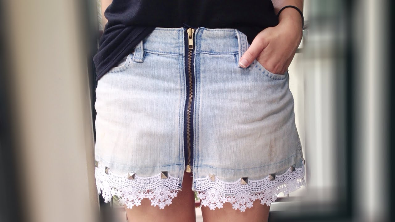How To Make a Chic Lace Jean Skirt - DIY Style Tutorial ...