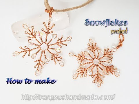 Snowflakes pendant - jewelry set for Christmas from copper wire 430