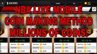 *NEW* NBA LIVE MOBILE COIN MAKING METHOD! MAKE MILLIONS OF COINS FAST AND EASY!
