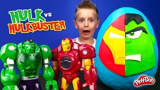 HULK vs HULKBUSTER Iron man Kinder Play-doh Surprise Egg with Avengers ToysReview by KID CITY