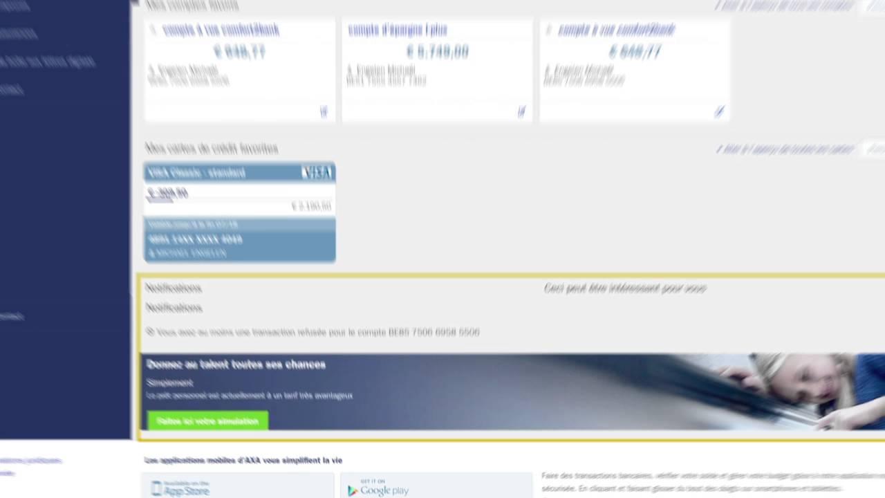 axa online banking effectuer des virements youtube. Black Bedroom Furniture Sets. Home Design Ideas