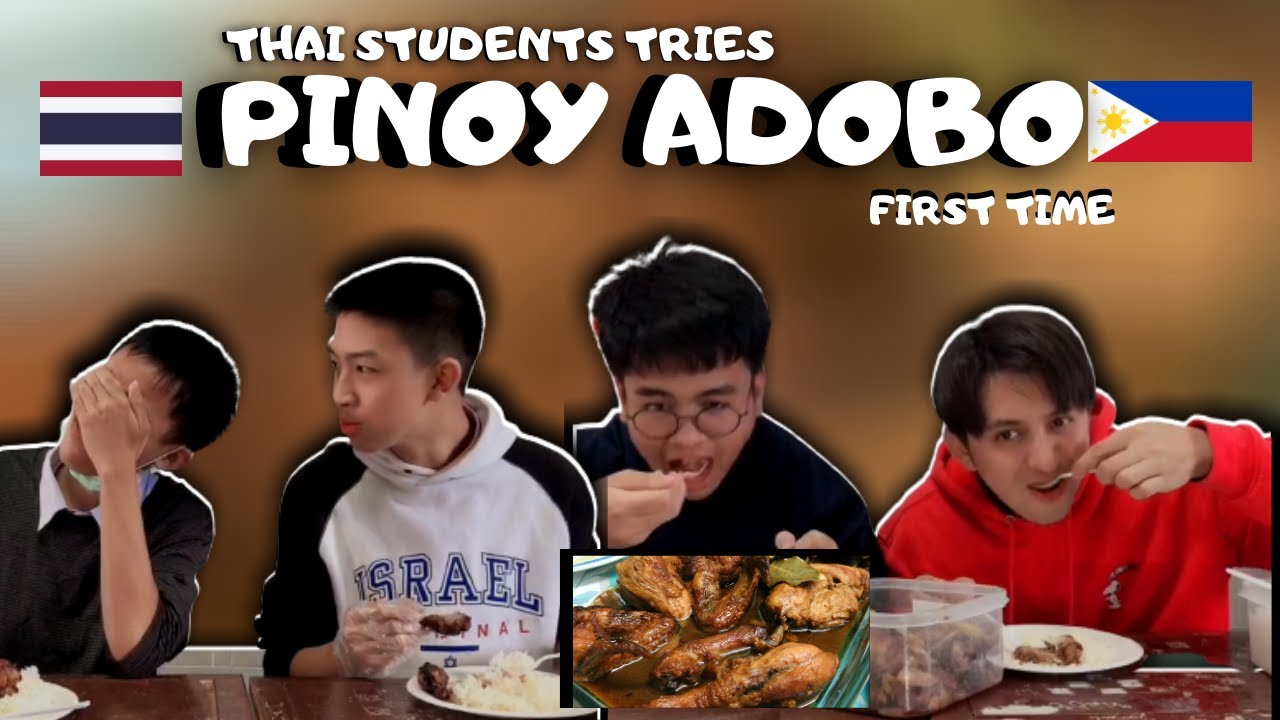 MY THAI STUDENTS REACTION EATING PINOY ADOBO FOR THE FIRST TIME | DELICIOUS!!!