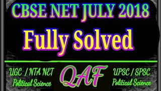 CBSE NET political science solved paper july 2018