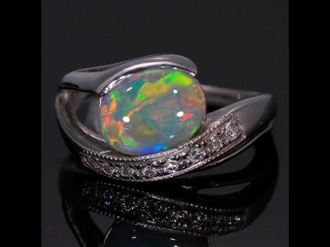 Fine Australian Opal In 14kt White Gold
