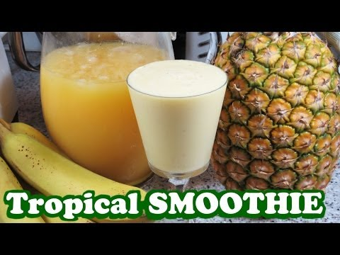 Tropical Fruits Smoothie Pineapple Banana Orange Juice - Healthy Juicing Diet Meal - Video Jazevox
