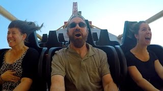 Cannibal front seat ridercam on-ride reverse HD POV @60fps Lagoon