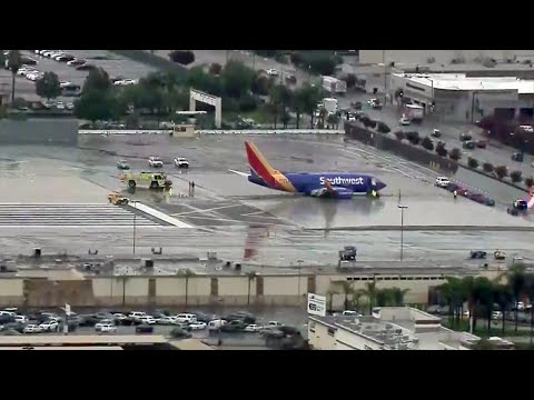 Southwest Airlines Jet Skids Off Runway in Burbank