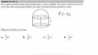 Na rysunku przedstawiono bryłę zbudowaną z walca i półkuli  Wysokość walca jest równa r i jest taka