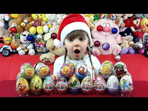 Киндер сюрприз 54 яйца Мега Выпуск! Открываем киндеры всей семьей.