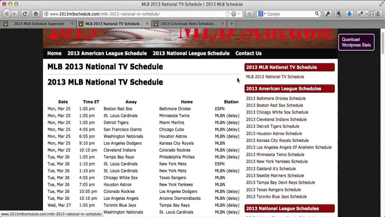 2013 MLB Schedule