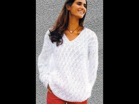 c72b67eac8d Белый Ажурный Пуловер Спицами - 2019   White Openwork Pullover Knitting  needles