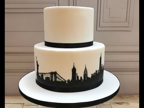 cake-decorating:-hand-paint-new-york-city-silhouette-onto-a-cake!