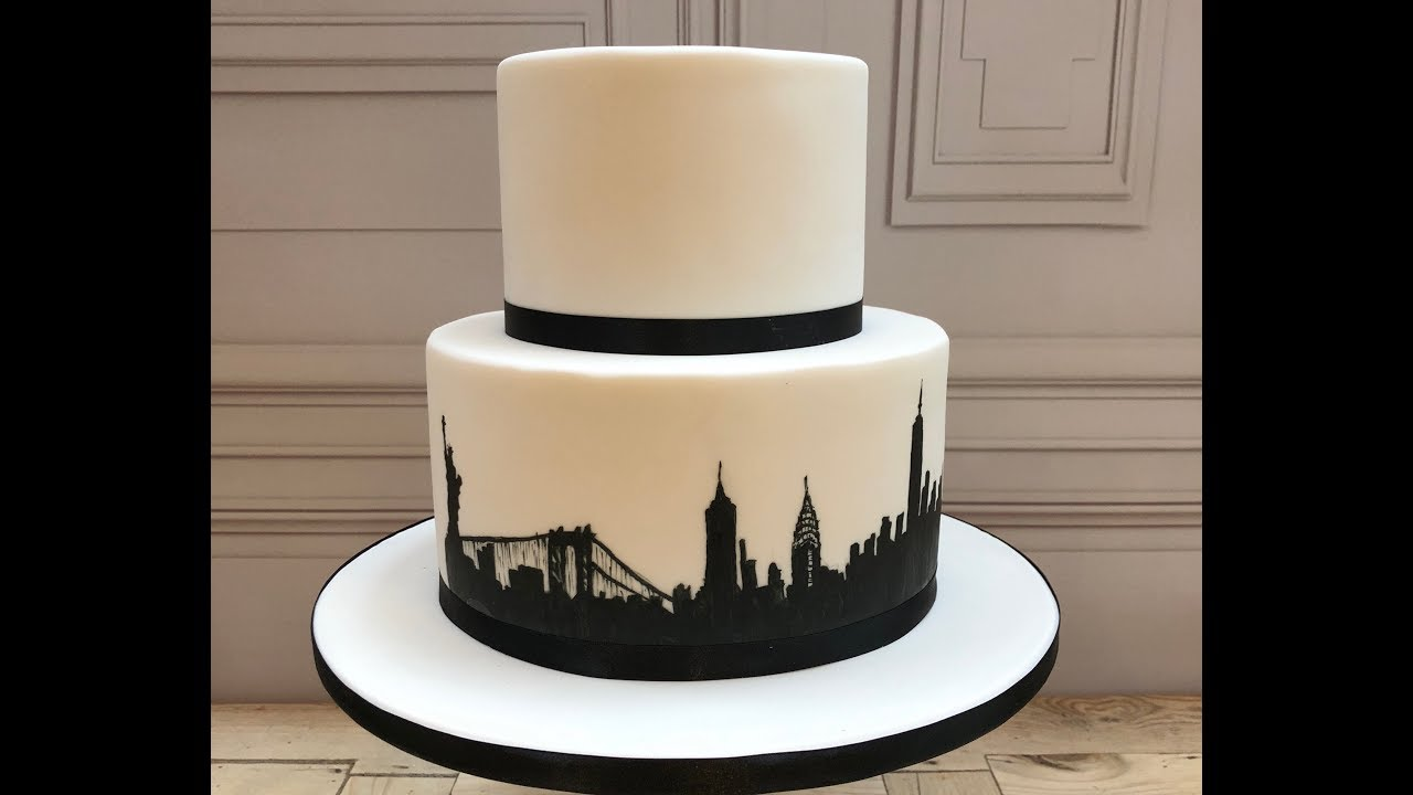 Cake Decorating Hand Paint New York City Silhouette Onto A
