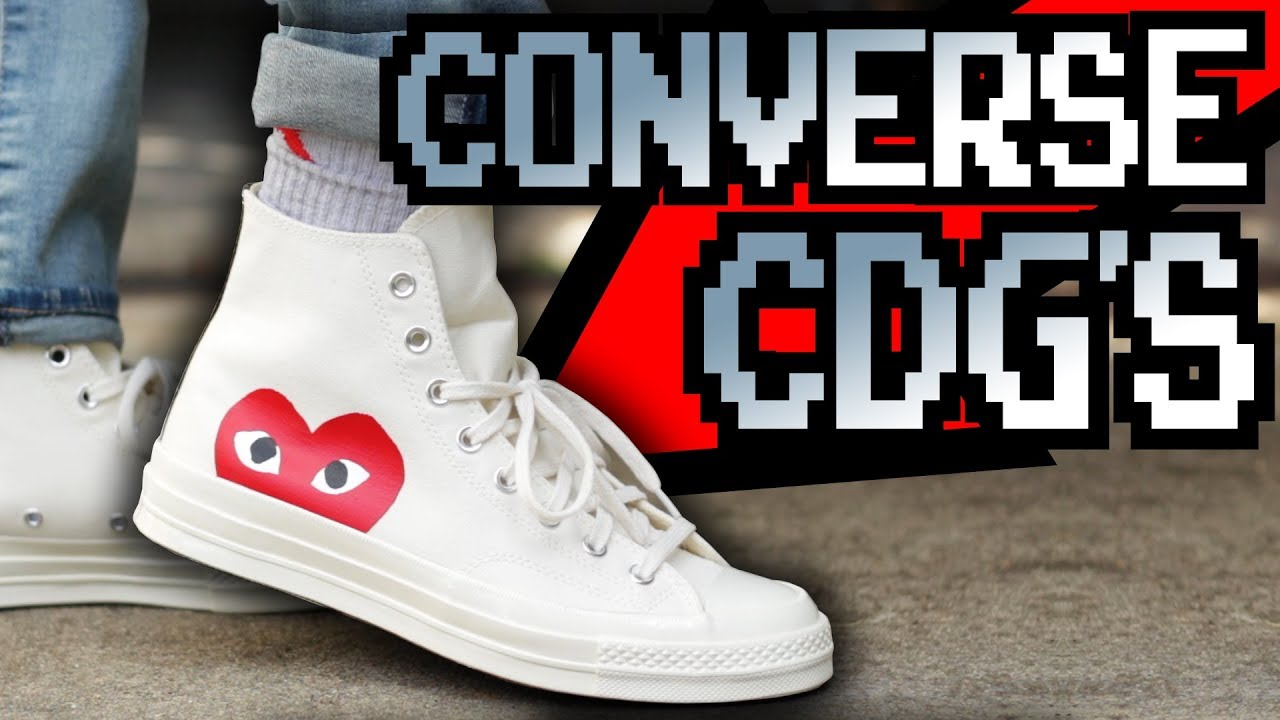 e4a59344c33d CDG PLAY X CONVERSE CHUCK TAYLOR ON FEET!!! - YouTube