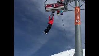 Взбесившийся подъёмник. Эвакуация туристов. Канатная дорога в Гудаури, Грузия 16 марта 2018