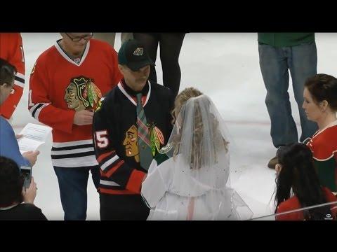Forbidden Love: Wild & Blackhawks fan wedding at Xcel Energy Center
