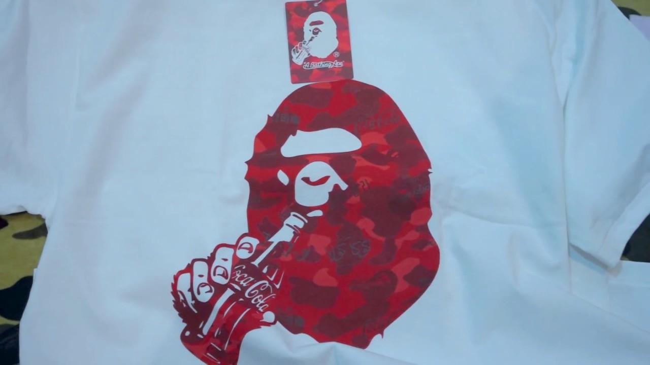 1168710b5bcb 2016 Bathing Ape (BAPE) x Coca Cola Ape Head Tee Red Camo Unboxing   Review