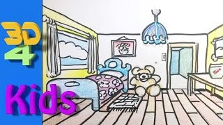 easy 3d for kids Perspective drawing draw room - 3D  # 28