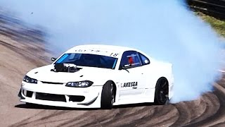 SUPERCHARGED V8 Nissan S15 - Loud Drifting