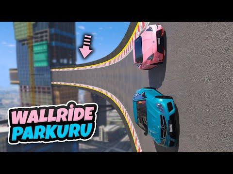 Modifiyeli Genç Arabaları WallRide Parkurunda Yarışıyor - GTA 5