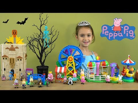 Peppa Pig Happy Family and Friends Story: Brother George Lost in Amusement Park Haunted House