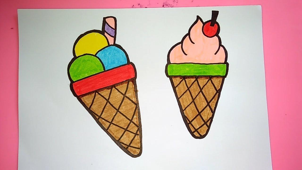 Cara Menggambar dan Mewarnai Es Krim untuk Anak Anak - YouTube