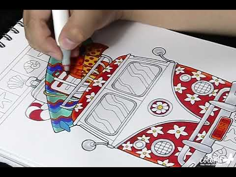 Freebie friday by colorit free adult coloring pages summer van coloring time lapse