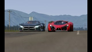 Battle Ferrari F80 Concept vs Mercedes-Benz Vision GT at Highlands