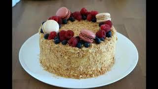 Торт НАПОЛЕОН(бабушкин рецепт) Слоеное тесто .Заварной крем .Самый вкусный!Mille feuilles.