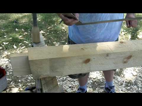 Timber Frame Shed - Laying Out and Making a Knee Brace Pocket
