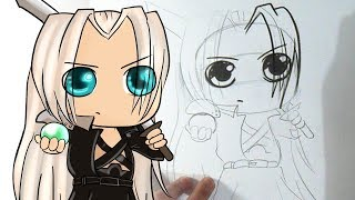 Cómo dibujar a Sephiroth chibi (Final fantasy VII)