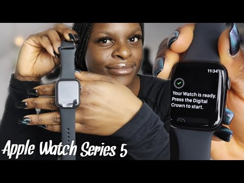 Apple watch series 5 Unboxing + Setup | Space Gray Aluminum Case 44mm (Black Sport Band)