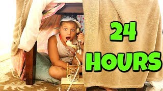 24 HOURS IN A BLANKET FORT- 24 HOUR CHALLENGE With Fun and Crazy Kids!!