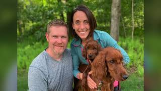 AKC Irish setters Piper and Oliver and their family