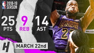 LeBron James Full Highlights Lakers vs Nets 2019.03.22 - 25 Pts, 14 Ast, 9 Reb
