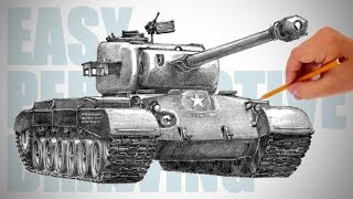 How to draw a tank (M26 Pershing) - Easy Perspective Drawing 15