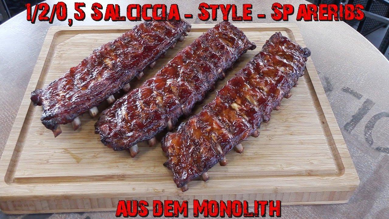 Spareribs Gasgrill Drehspieß : Salciccia style spareribs aus dem monolith youtube