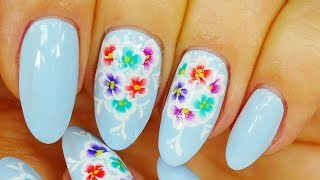 Nail Art. Colourful Flowers ! Light Blue Design !