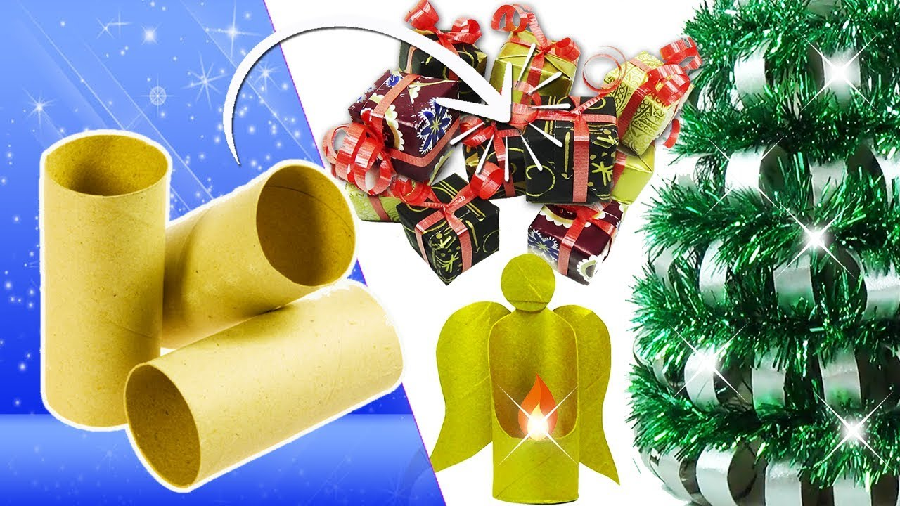 Adornos navide os con tubos de papel higi nico 3 ideas - Adornos de navidad con papel ...
